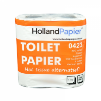 Toiletpapier traditioneel cellulose 2 lgs 200 vel 12 x 4 rollen in folie